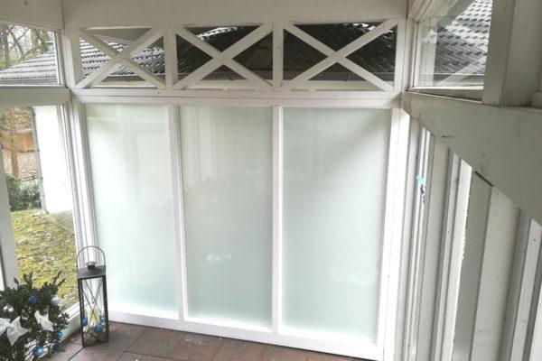 Glas Trennwand außen